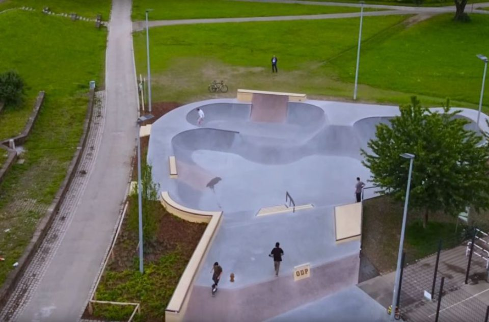 Aerial video of ODP Skatepark Karlsruhe, Germany
