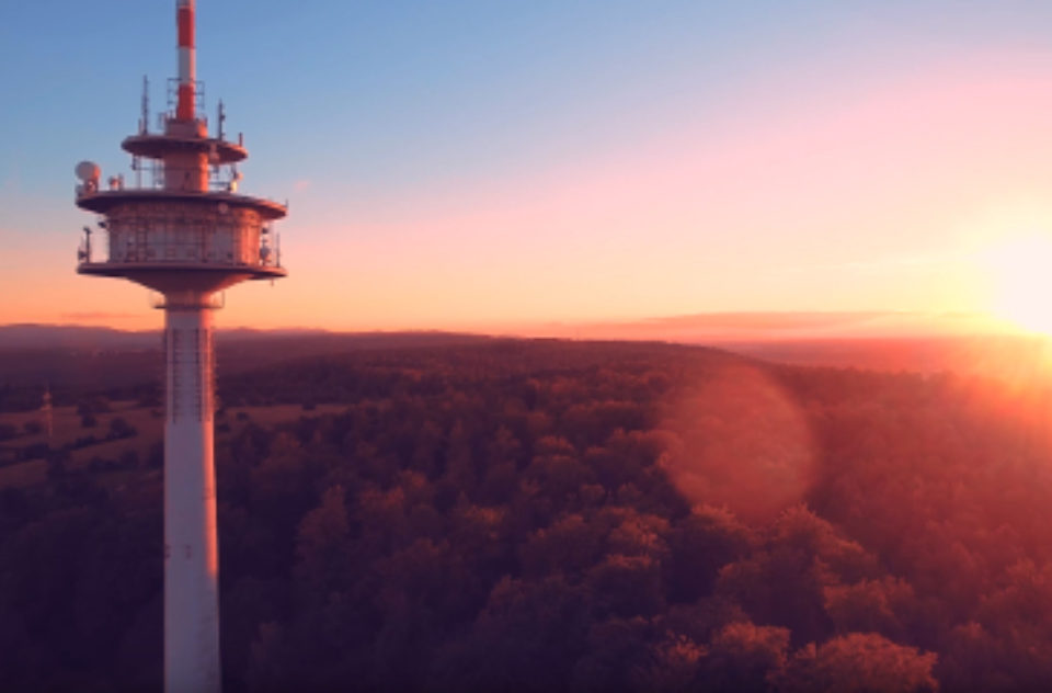 Tower sunset in Karlsruhe, Germany 2016